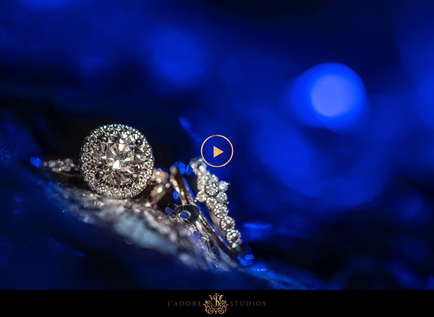 Blue detail ring shot for wedding photography. Bride and groom rings
