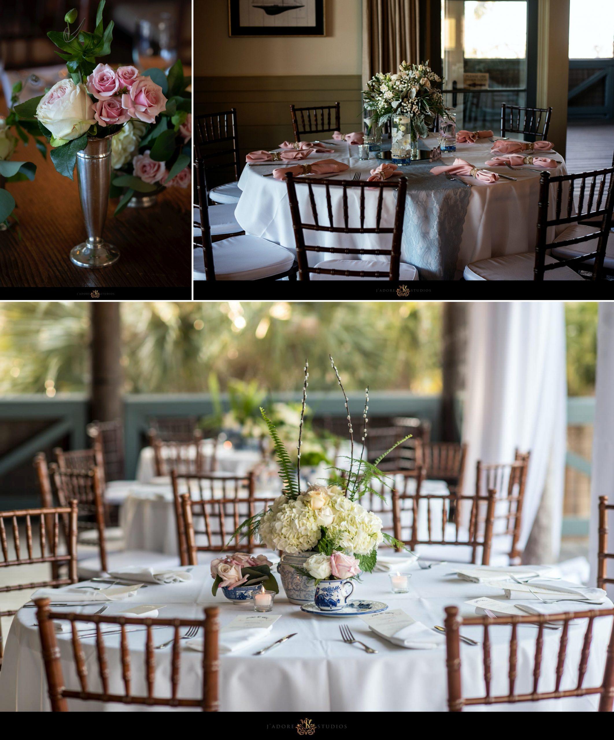 Reception decor at Oyster Bay Yacht Club in Fernandina Beach Florida