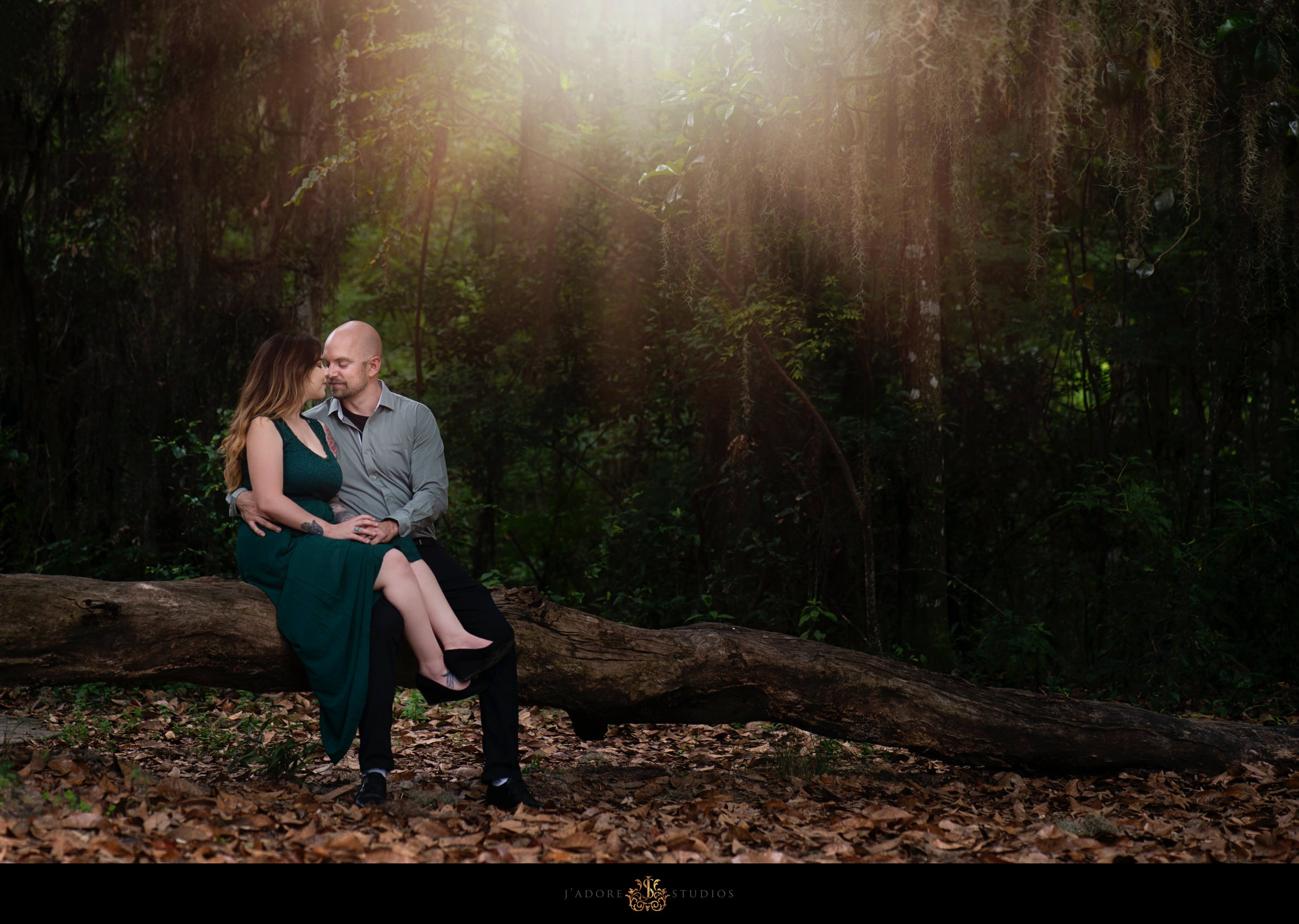 Couple kissing on tree log in Alpine Grove Park