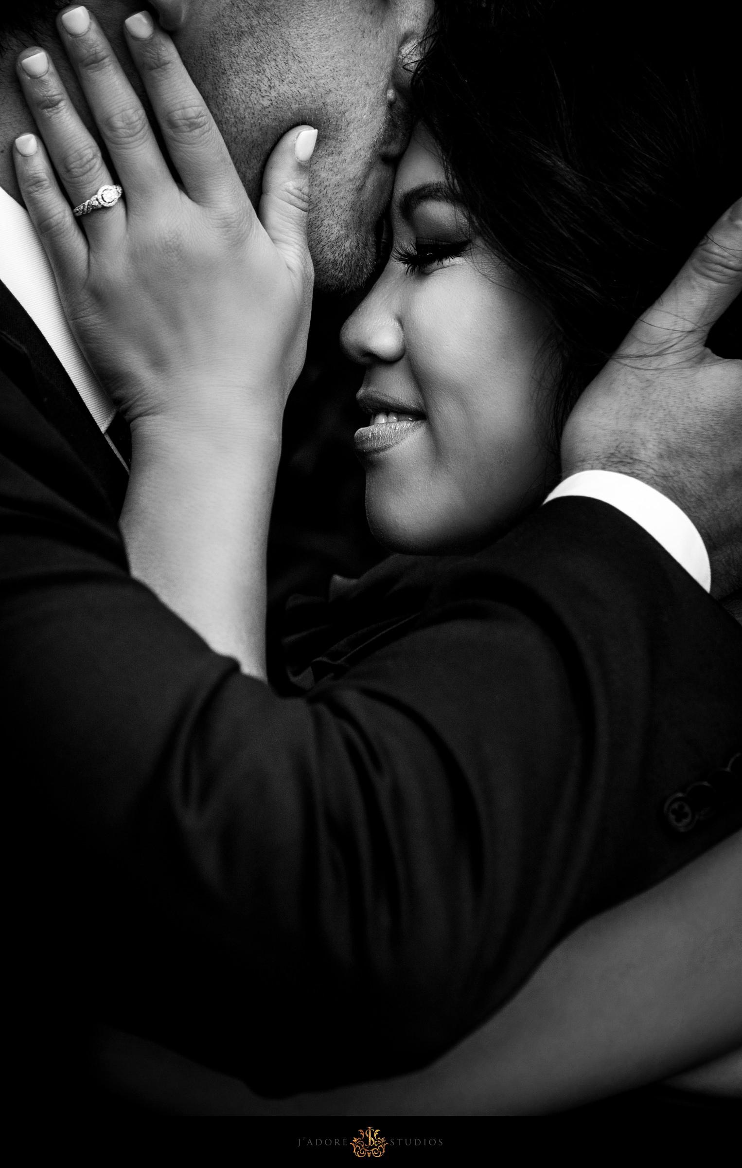 groom kissing bride's forehead in saint Augustine Florida