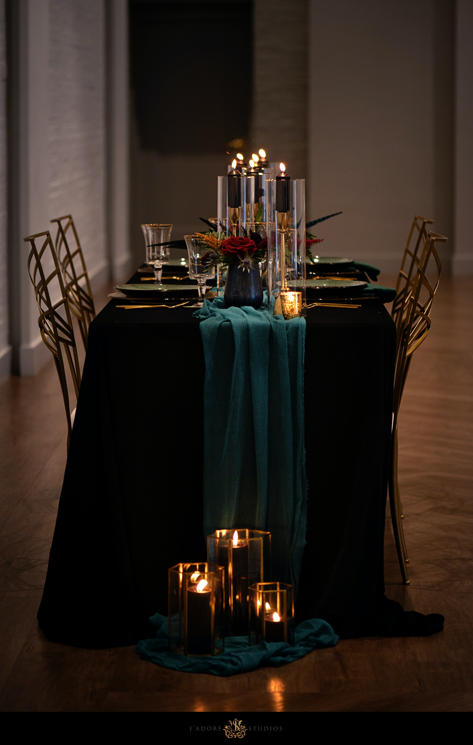 Black Gold and Teal Wedding Reception table design