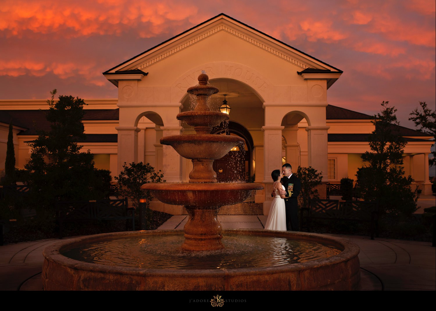 Bride and Groom kissing in front of River House Saint Augustine Florida
