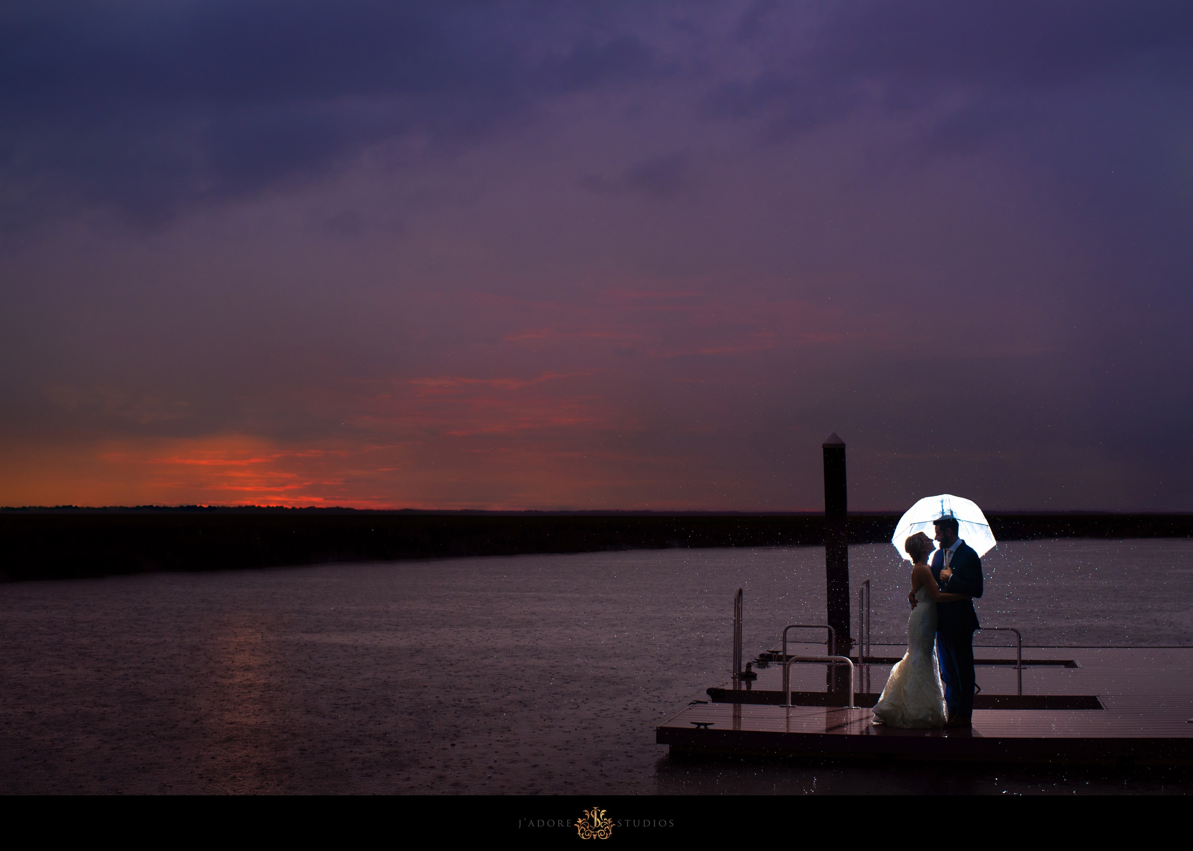 Sunset rain photo on the dock at Walkers Landing in Amelia Island