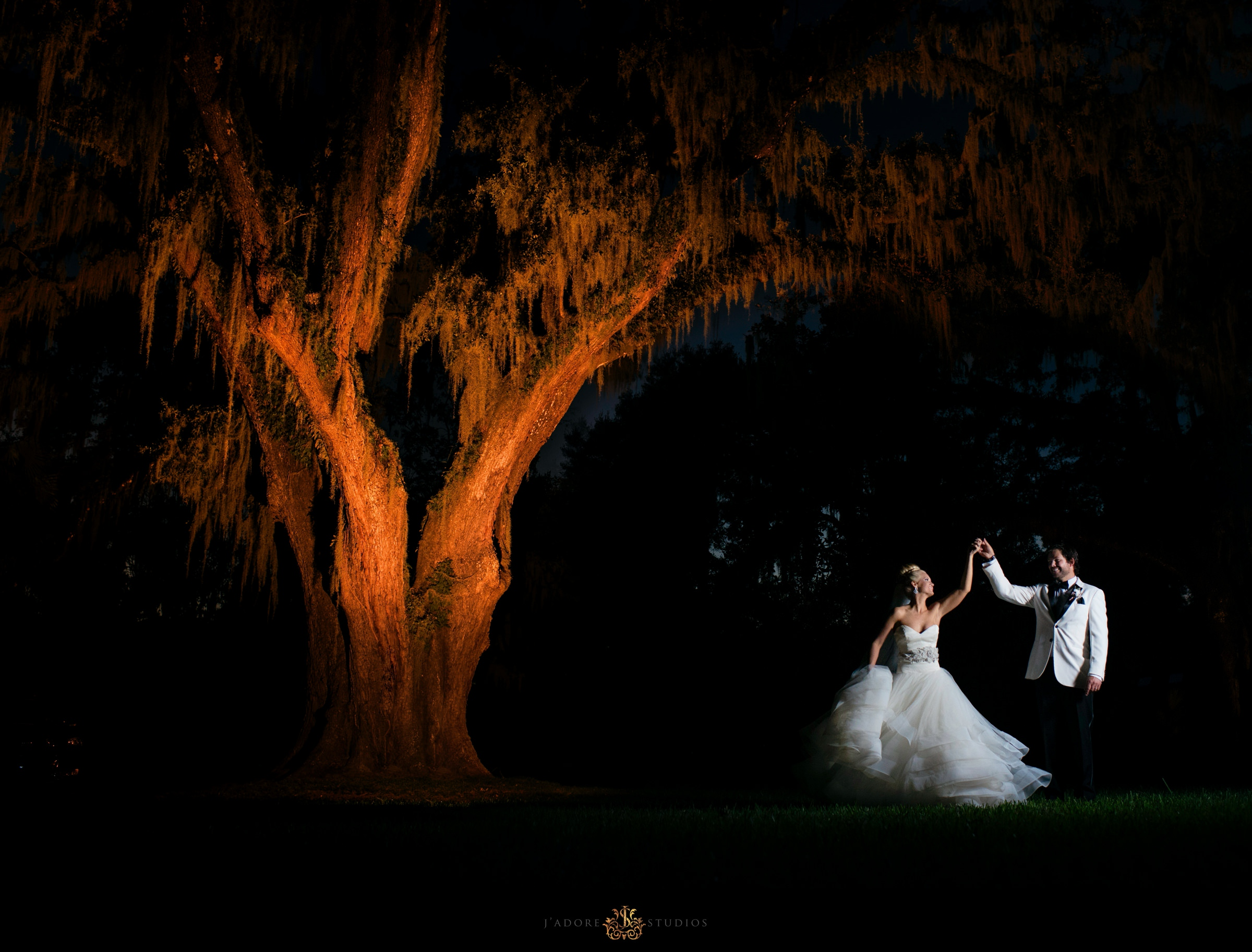 Couple dancing under a tree at Club Continental