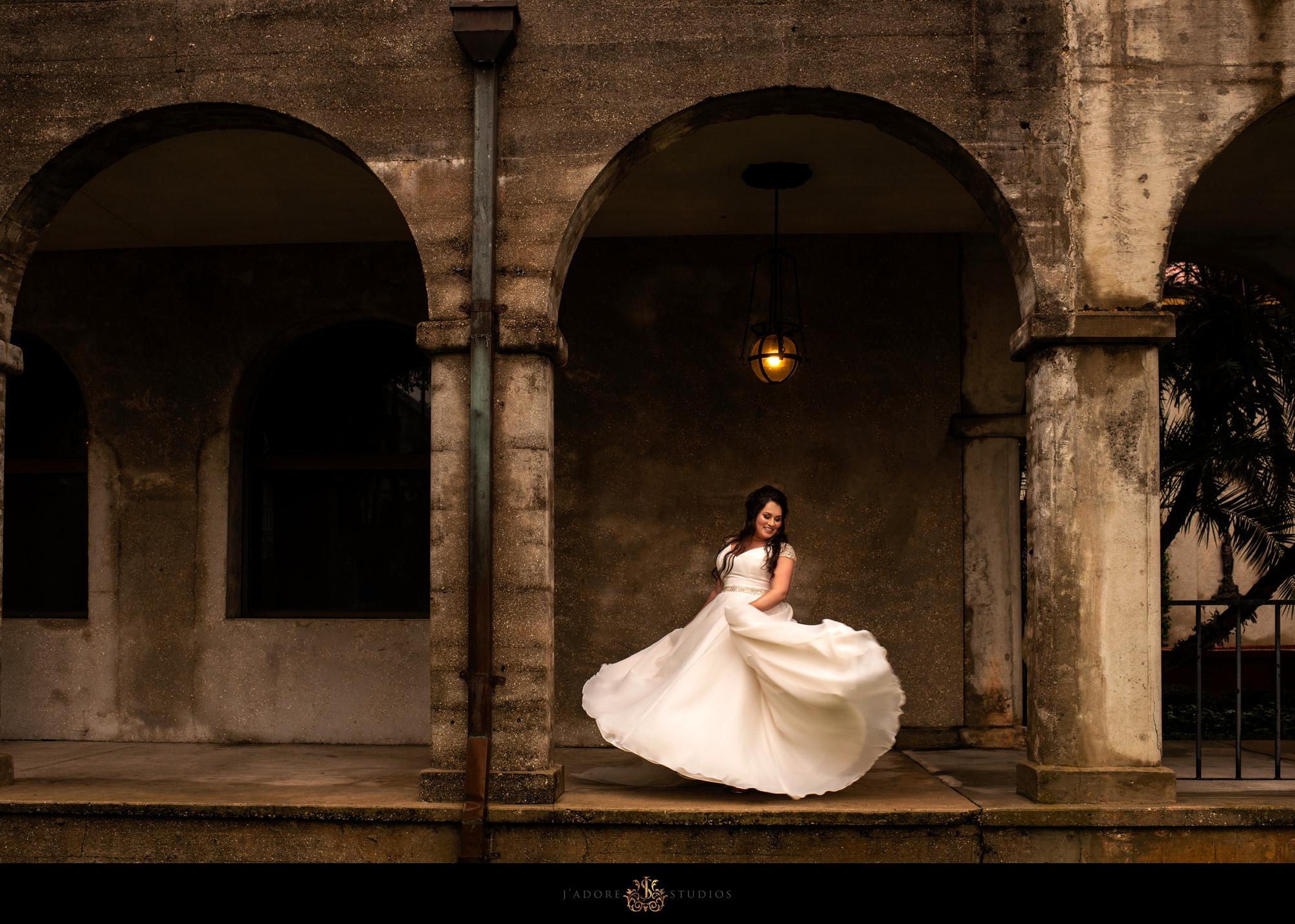 Bride dancing at lightner museum in saint Augustine Florida