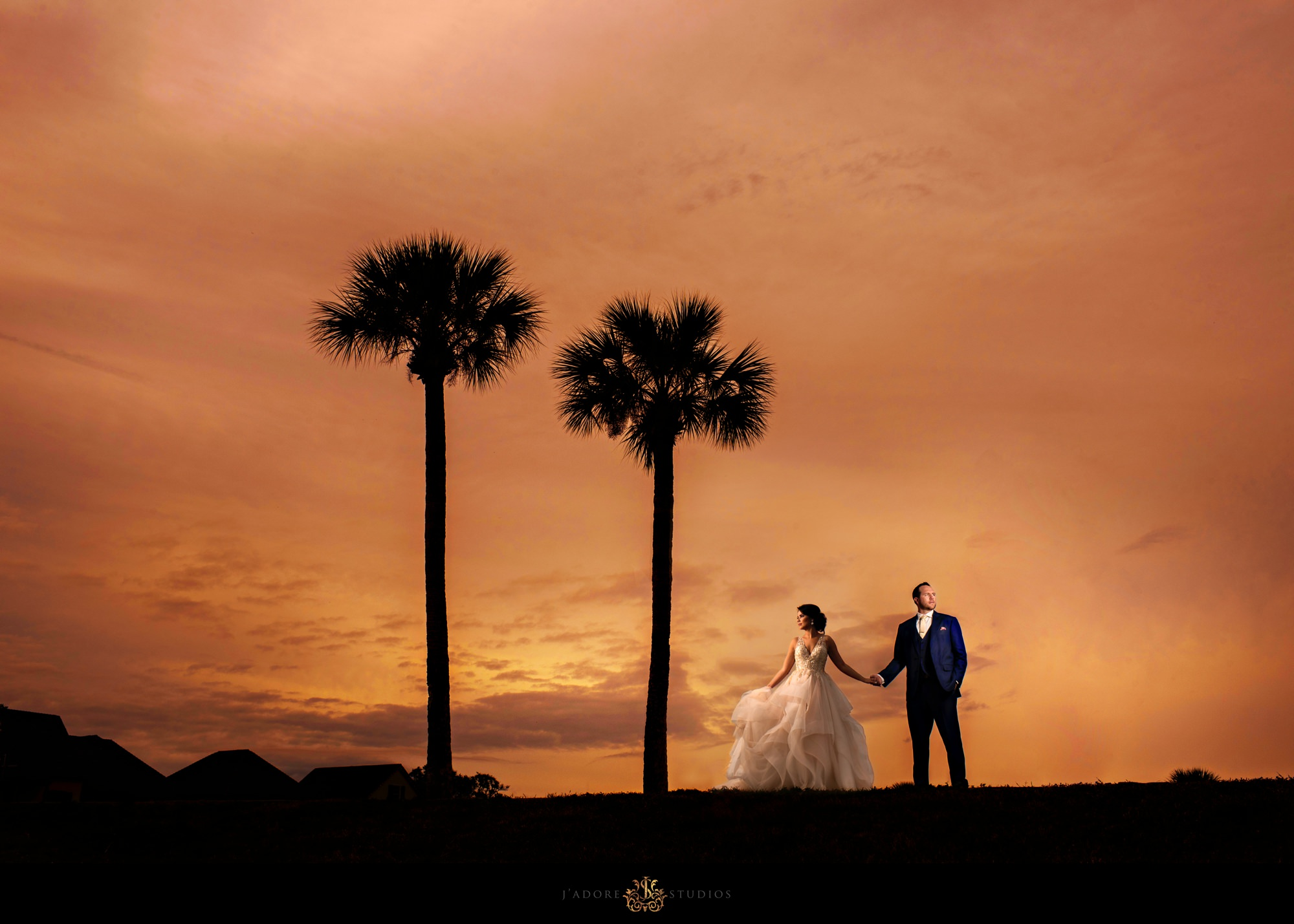 sunset photo of couple at the fort - white room Saint Augustine Florida wedding